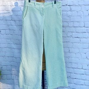 TOMMY HILFIGER WHITE & GREEN SEERSUCKER PANTS SZ10